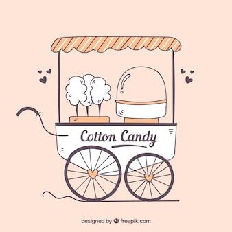 Słodkie waty cukrowej wózek z sercami