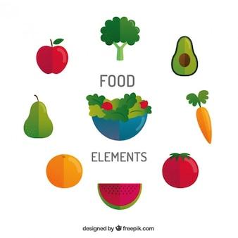 Sałatki i zdrowe jedzenie w płaskiej konstrukcji