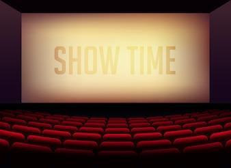 Sala kinowa lub sala teatralna na premierę plakatu filmowego z krzesłami wewnątrz pokoju
