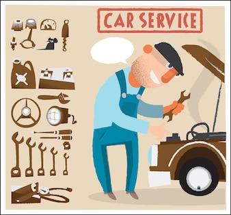 Samochodów człowiek usługi z narzędziami. Ilustracji wektorowych