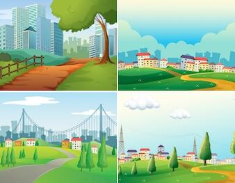 Sceny miast i parków