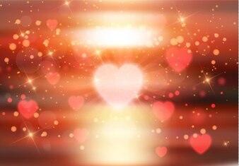 Serca Blur na tle zachodu słońca