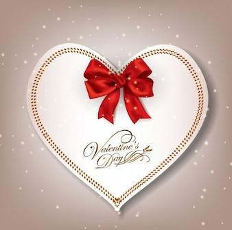 Serce papier z czerwoną wstążką. Walentynki.