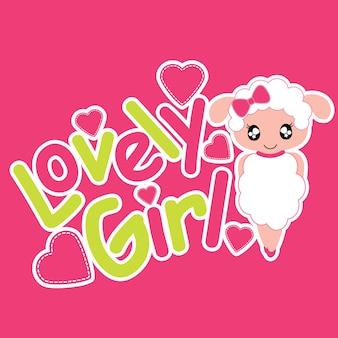 Sheep dziewczyna jako tło piękne dziewczyny cartoon wektora