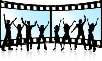 Silhouettes ludzi tańczących na tle taśmy filmowej