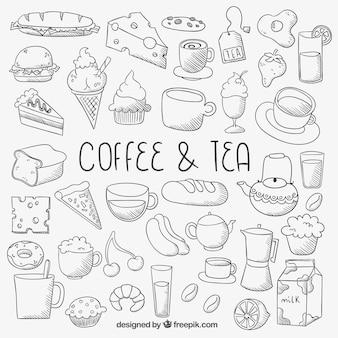 Sketchy ikony żywności