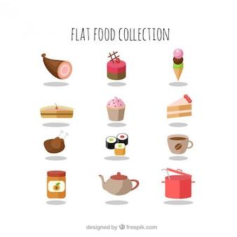 Smaczne jedzenie płaskim kolekcji