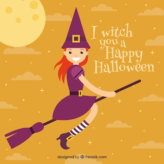 Smiley czarownica latające na miotle