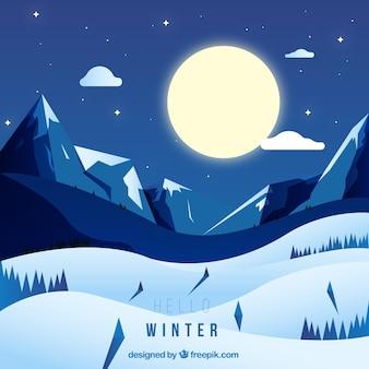 Snowy nocny krajobraz w tle