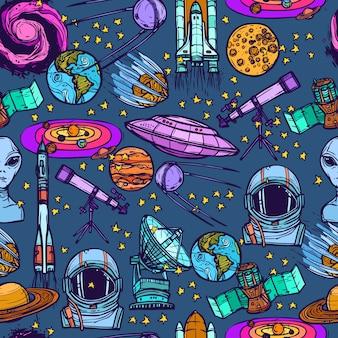Space szkic bezszwowych wzór