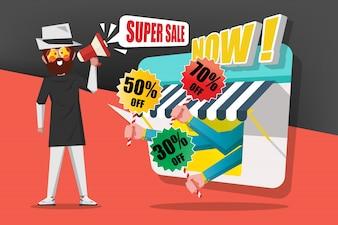 Sprzedaż i koncepcja zakupów, panowie używają megafonu połączeń, aby zadzwonić do klientów, aby kupić w sklepie, rysunek Cartoon płaskim stylu