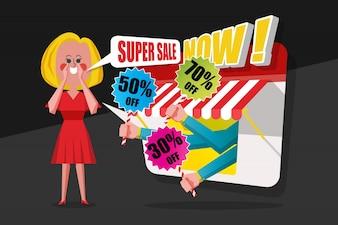 Sprzedaż i zakupy koncepcji, modlisz się czerwona sukienka krzyczała do klientów, aby kupić w sklepie, rysunek Cartoon płaskim stylu