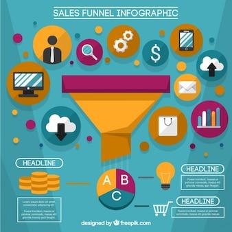 Sprzedaż infografika szablon z kolorowych ikon