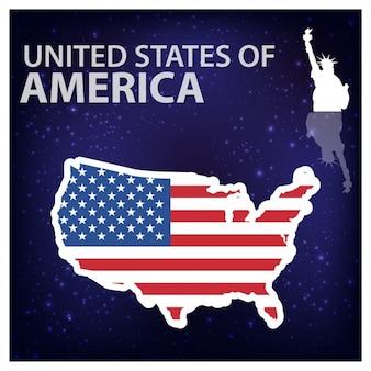 Stany Zjednoczone Ameryki Shiny sylwetce z Statua Wolności