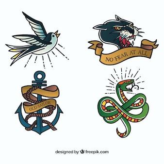 Stare szkolne zwierzęta tatuaż kolekcji