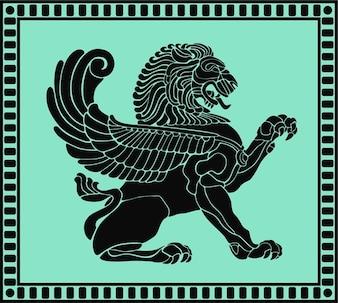 starożytnej lew tarczy