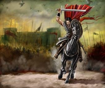 Stary wojownik ręcznie malowane ilustracji wektorowych