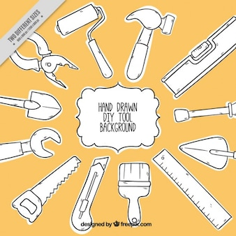 Stolarka tła z ręcznie rysowane narzędzi