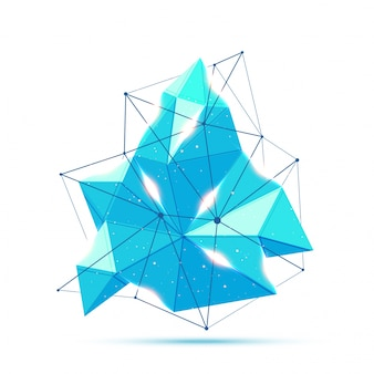Streszczenie niebieski element wieloboczny z obiektywu pochodni.