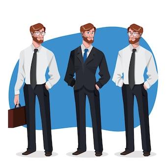 Stylowy biznesmen z różnymi stwarzają
