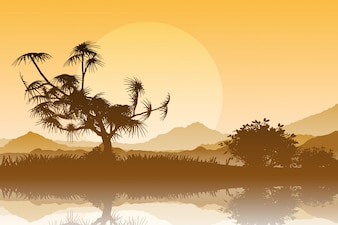 Sylwetka drzew przed zachodem słońca niebo