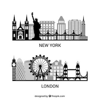 Sylwetki Nowym Jorku i Londynie paczka