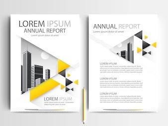 Szablon broszury firmy o żółtym kształcie trójkąta