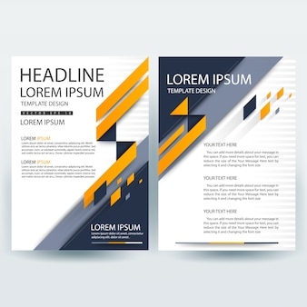 Szablon broszury firmy z pomarańczowym i ciemnoniebieskim kształtem geometrycznym