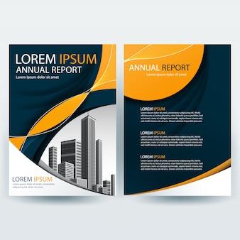 Szablon broszury firmy z pomarańczowymi falistymi kształtami