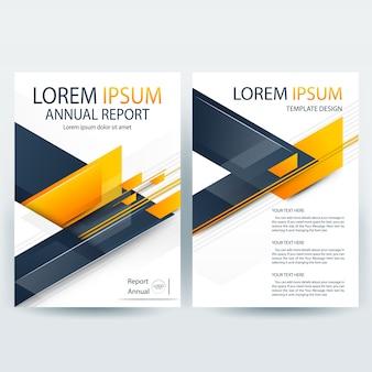 Szablon broszury firmy z pomarańczowymi i niebieskimi kształtami geometrycznymi