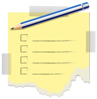 Szablon Checklist z jednym ołówkiem na nim