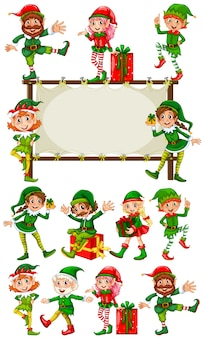Szablon granicy z christmas elves