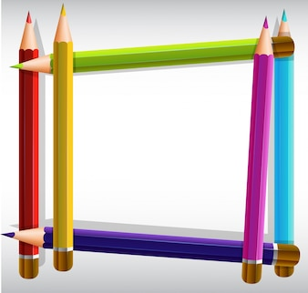 Szablon granicy z ołówkami kolorowymi