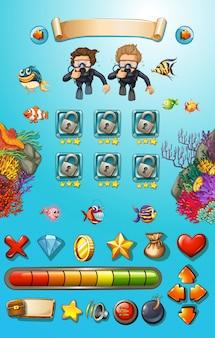 Szablon gry z nurkami i zwierzętami morskimi