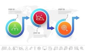 Szablon infograficzny firmy prezentacyjnej z 3 krokami i zestawem ikon.
