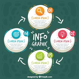 Szablon infograficzny ze stylem ręcznie narysowanym