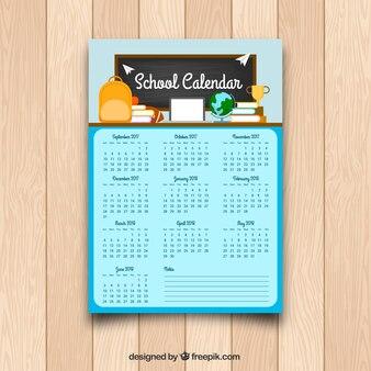 Szablon kalendarza szkolnego w płaskim stylu