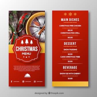 Szablon menu Bożego Narodzenia