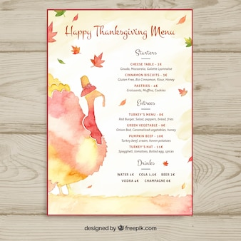 Szablon menu dziękczynienia akwarela