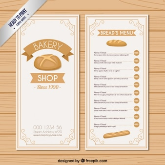 Szablon menu pieczywo
