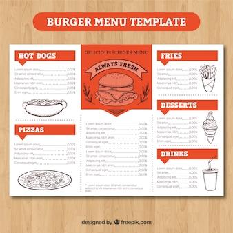 Szablon menu pomarańczowy i biały burger