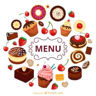 Szablon menu słodycze wektor