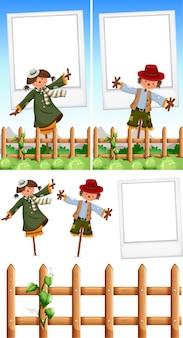 Szablon ramki na zdjęcia z scarecrows