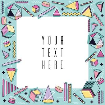 Szablon stylu Memphis. Abstrakcyjna ramki z kolorowych kształtów elementów geometrycznych. Wektor tła. Kartka z życzeniami z lat 90. wieku 80, broszura, ulotka, układ prezentacji.