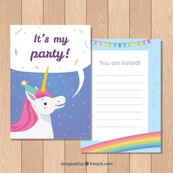 Szablon zaproszenia urodzinowego z jednorożca