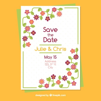 Szablon zaproszenie na ślub z pięknymi kwiatami