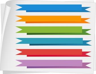 Szablony etykiet z kolorowymi wstążkami