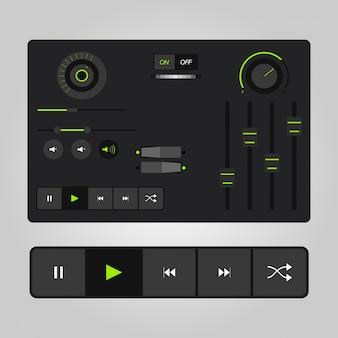 Szablony odtwarzacza audio UX w wektorze z elementami projektu i ikonami
