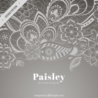 Szary Paisley tle kwiatów