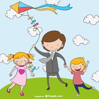 Szczęśliwa rodzina z latawcem